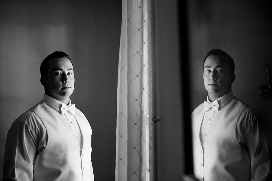 Groom reflection portrait