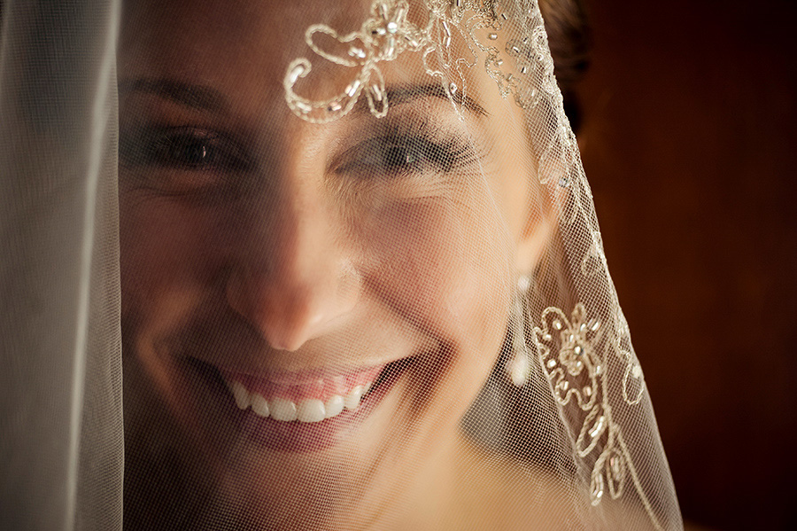 Bride covered in veil portrait