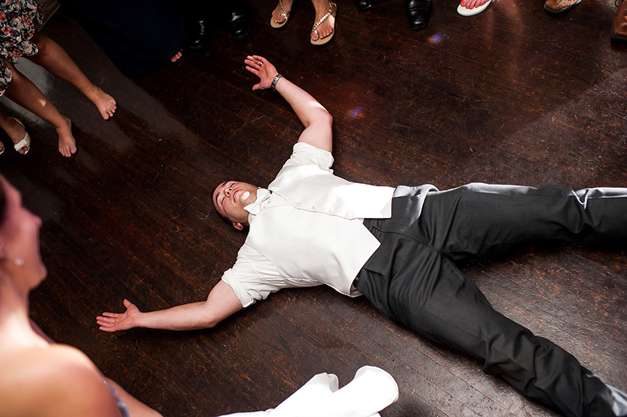 Groom tired on the floor