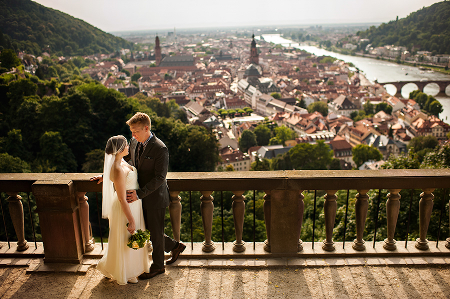 Bride and Groom married in front of the Germany city of Heidelberg.