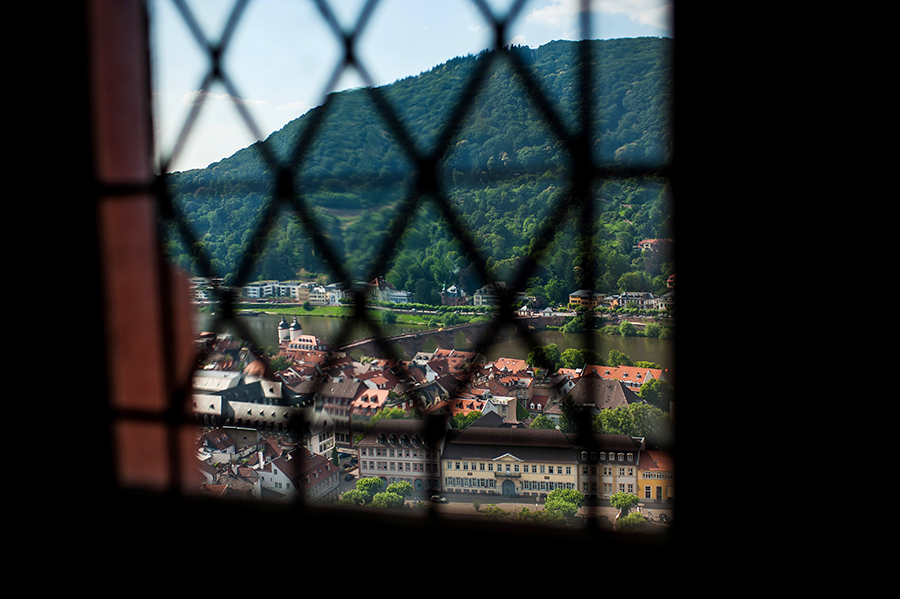 Scenic photo through a window on wedding morning of Heidelberg, Germany.