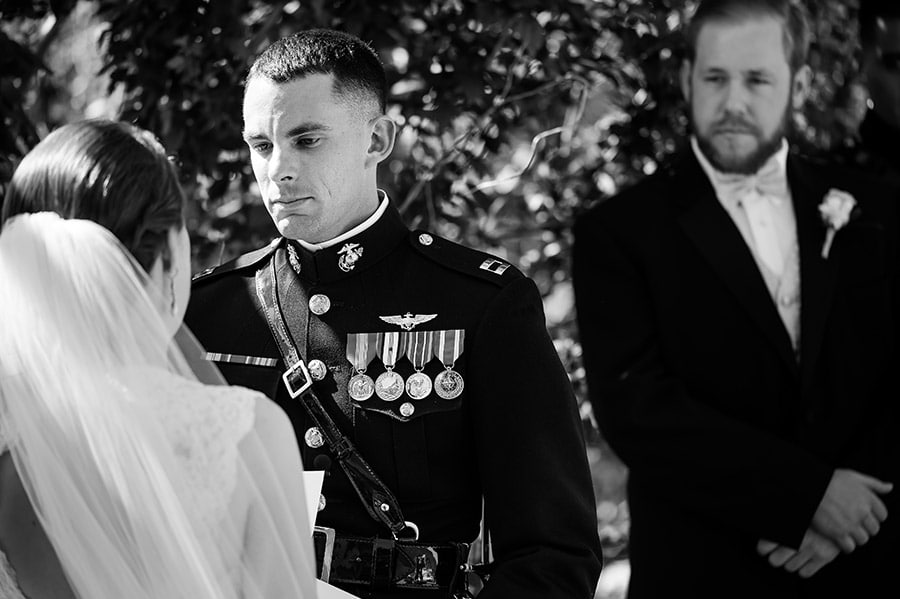Groom gets choked up during his vows.