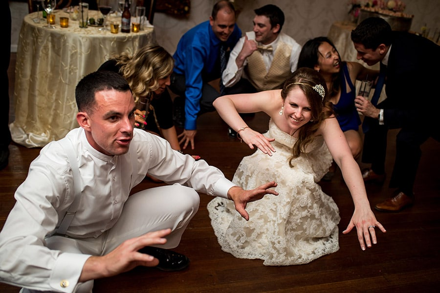 Bride and groom get low during The Shout.