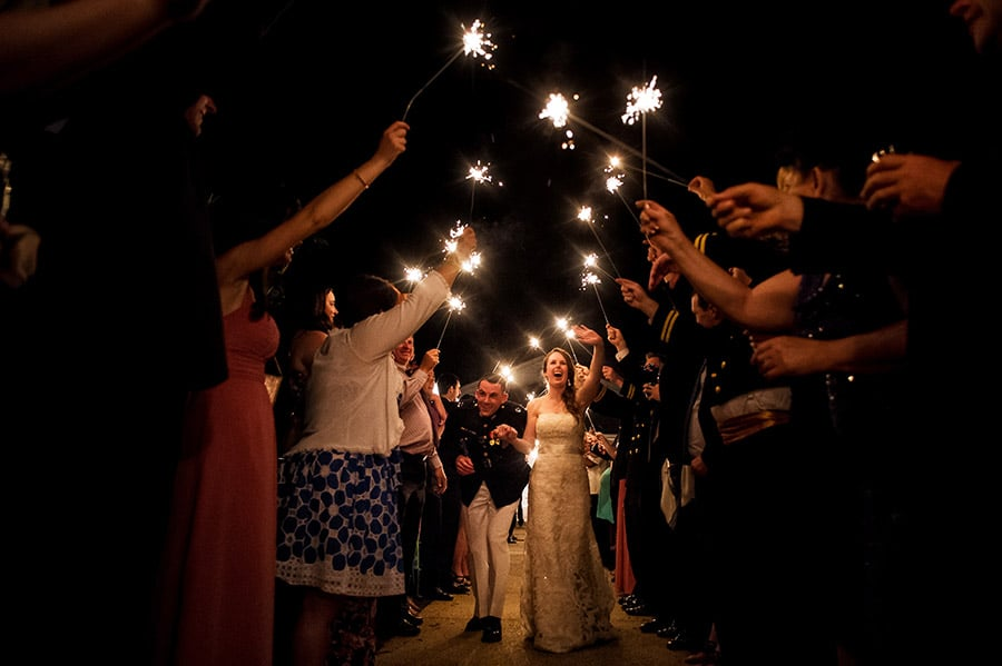 Bride and groom leave to a sparkler exit!
