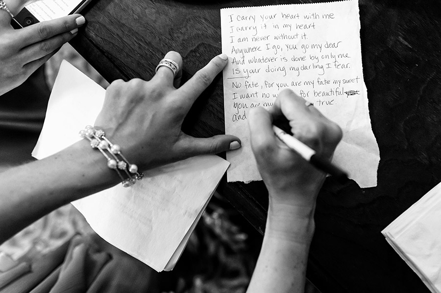 Maid of honor writing song lyrics on a wedding day.