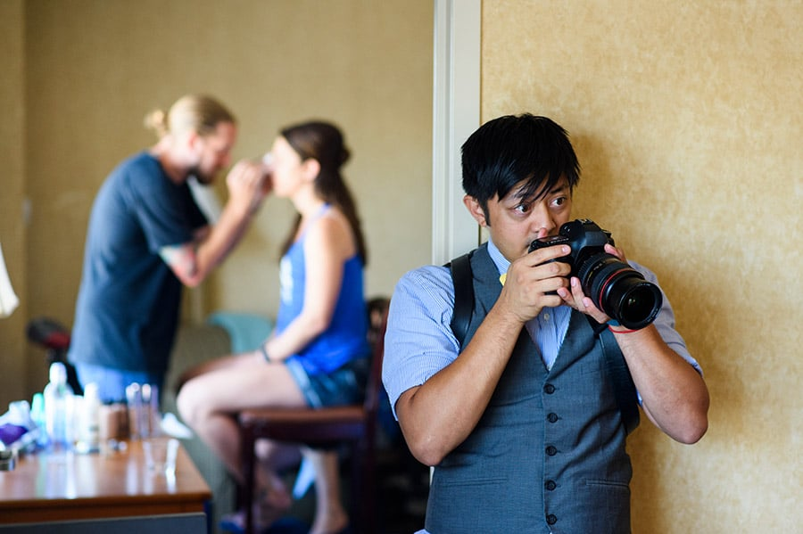 Philadelphia photographer during bridal preparation.