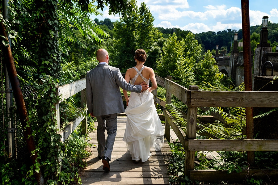 Bride and groom go on a walk together. during wedding day,