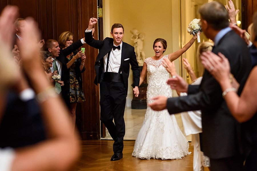 Bride and groom are introduced into wedding reception at Union League in Philadelphia, PA.
