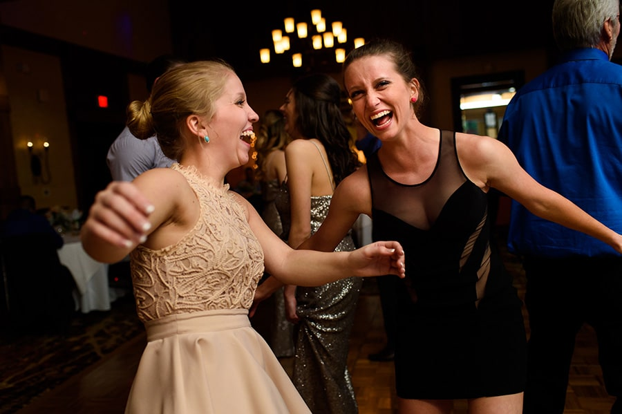 Wedding guests dance at reception Bear Creek in Macungie, PA.