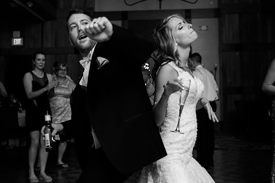 Bride and groom dance during wedding reception at Bear Creek.