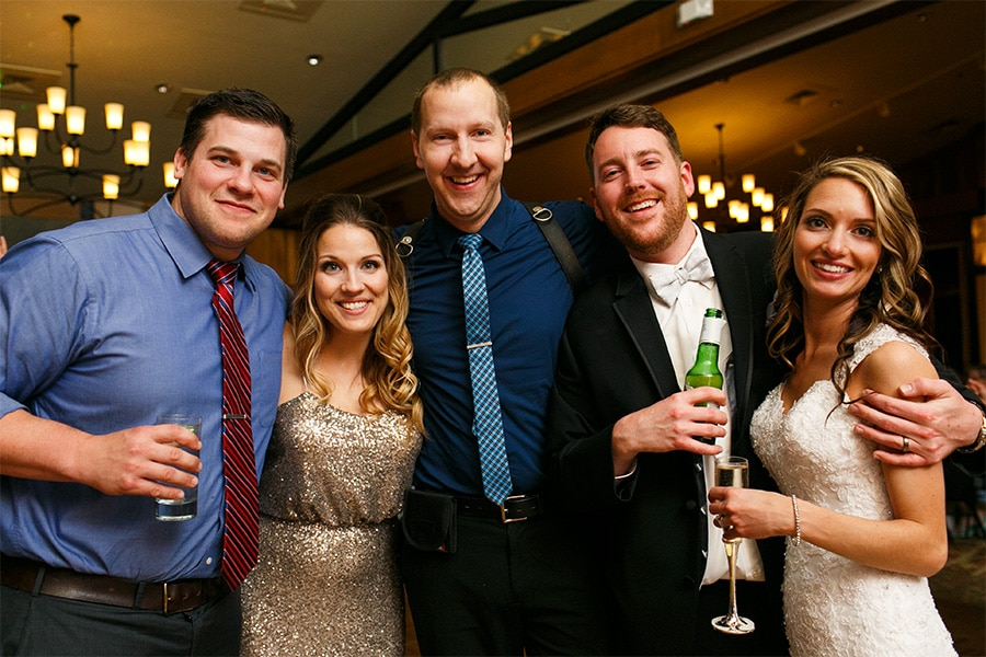 Daniel Moyer with past couple, Lauren & Ricky and Bride, Kelly & Groom, Chris at their wedding at Bear Creek Mountain Resort in Macungie, PA.