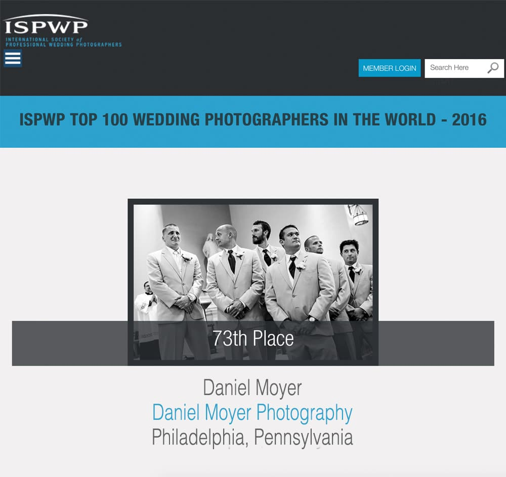 Daniel Moyer named in the Top 100 Wedding Photographers in the world for 2016!