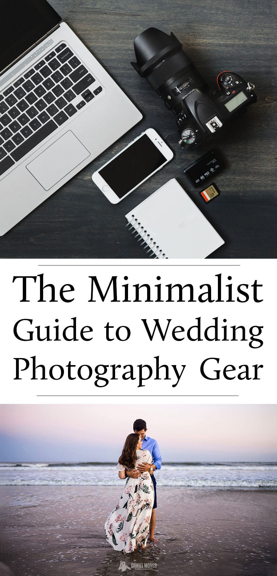 Title photo for the Minimalist Guide to Wedding Photography Gear with a photo of a computer, phone, camera, and camera card.